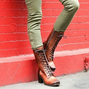 Frye Kendall Lace Up Cognac Leather Boots SZ 7 1/2